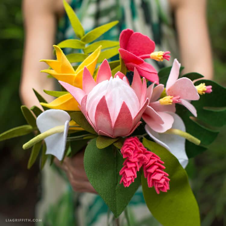 Tropical felt flower arrangement