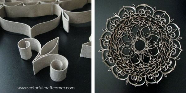 Paper tube mandala DIY wall decor