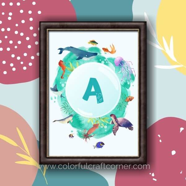 Sealife Monogram Printable Wall Art