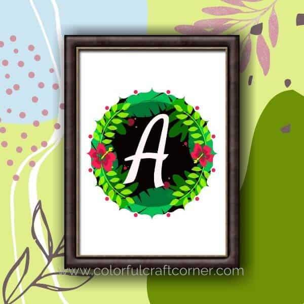 Tropical Monogram Printable Wall decor