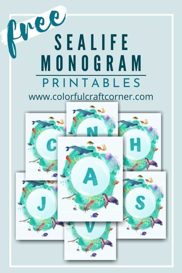 Free Ocean Monogram Printable Wall Art