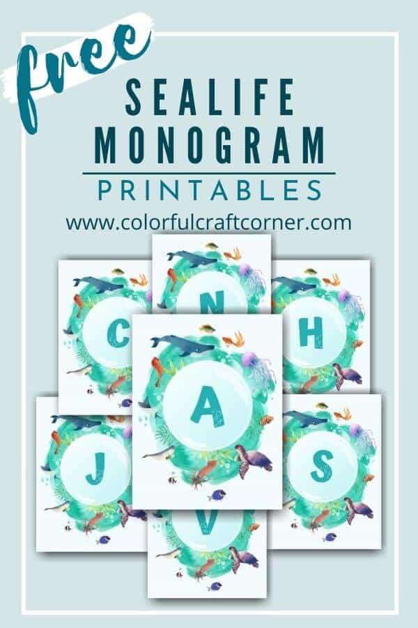 Free Ocean Monogram Printable Wall Art