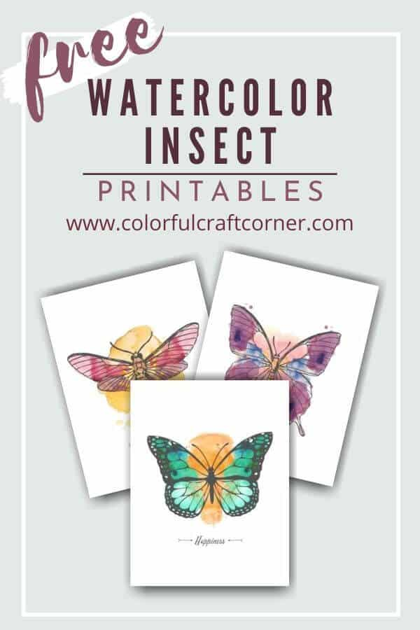 Free Watercolor Insect Printable Wall Decor