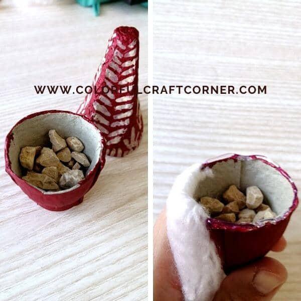 DIY mini gnome egg tray craft