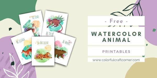 Watercolor Animal Printable Wall Art