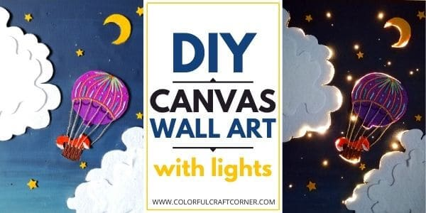 DIY canvas wall art with lights