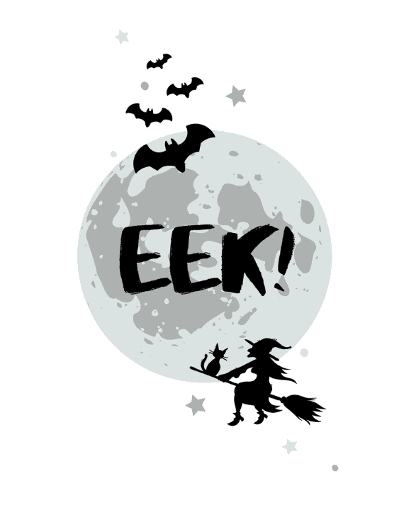 Eek! Moon with bats and a witch