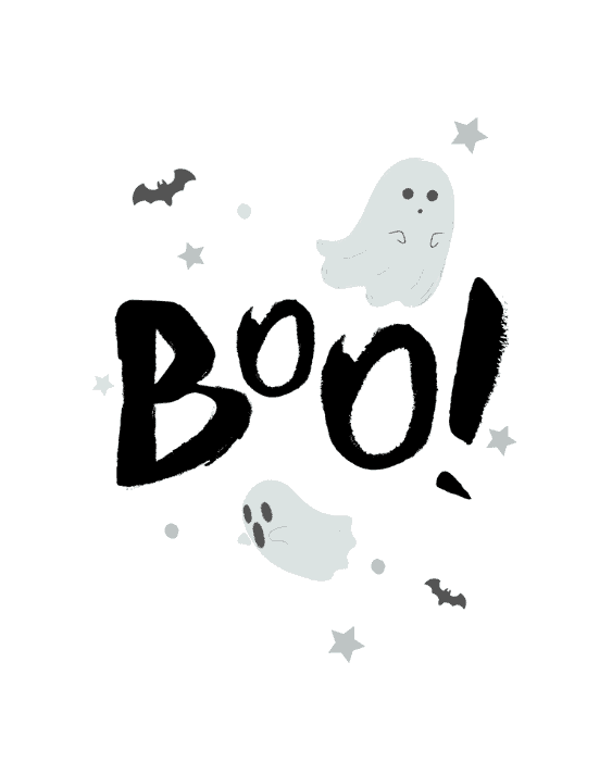 Boo! sign with ghosts