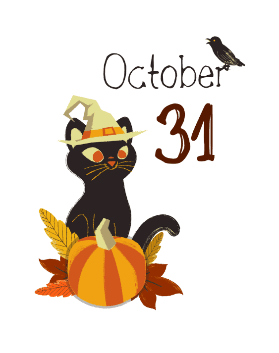 October 31th print with cat