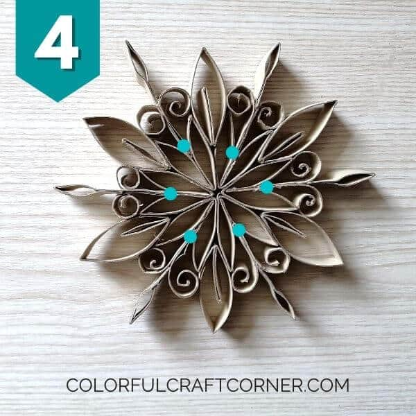 DIY snowflake out of toilet paper rolls