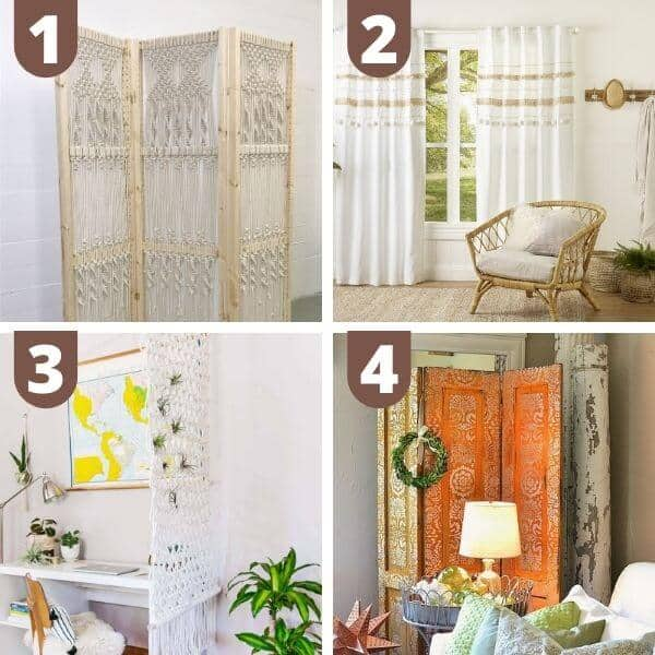 DIY boho curtains and room dividers