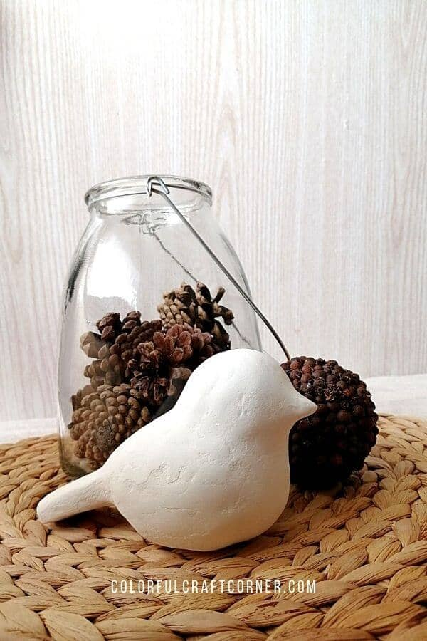 DIY air-dry clay bird