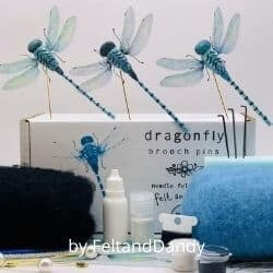 Dragonfly brooch felt craft kit for adults