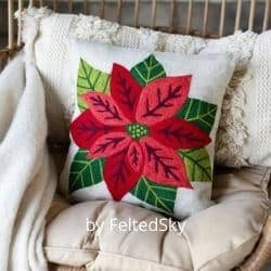 Needle Felted Poinsettia pillow cover kit