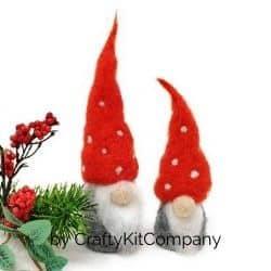 Needle felted DIY mini gnomes