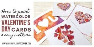 DIY watercolor Valentine cards