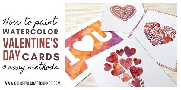 DIY watercolor Valentine cards