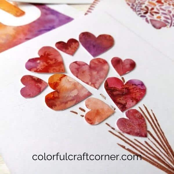 Handmade Watercolor heart card