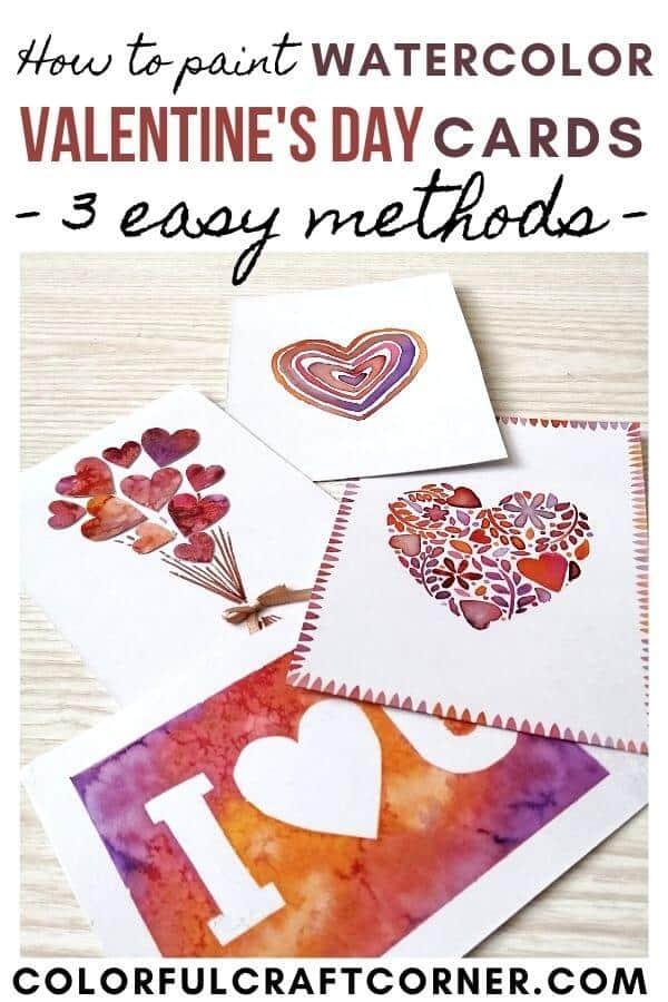 Easy Watercolor Valentine card tutorial