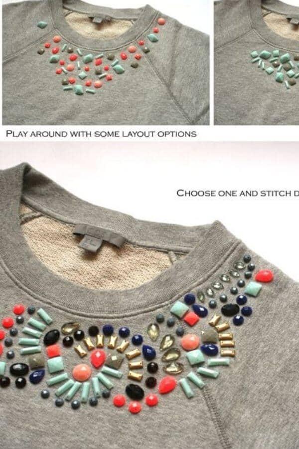 DIY embellished sweatshirt