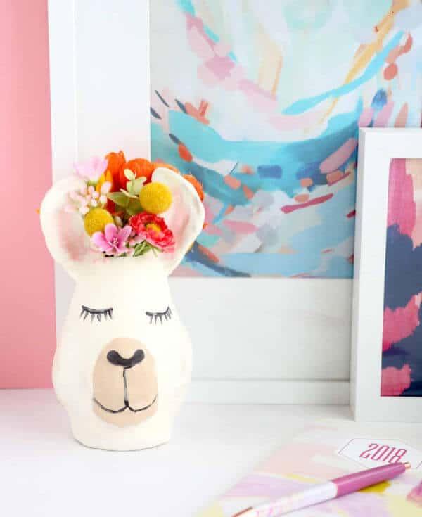DIY clay Llama Vase