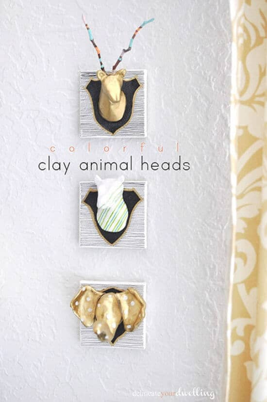 clay animal heads