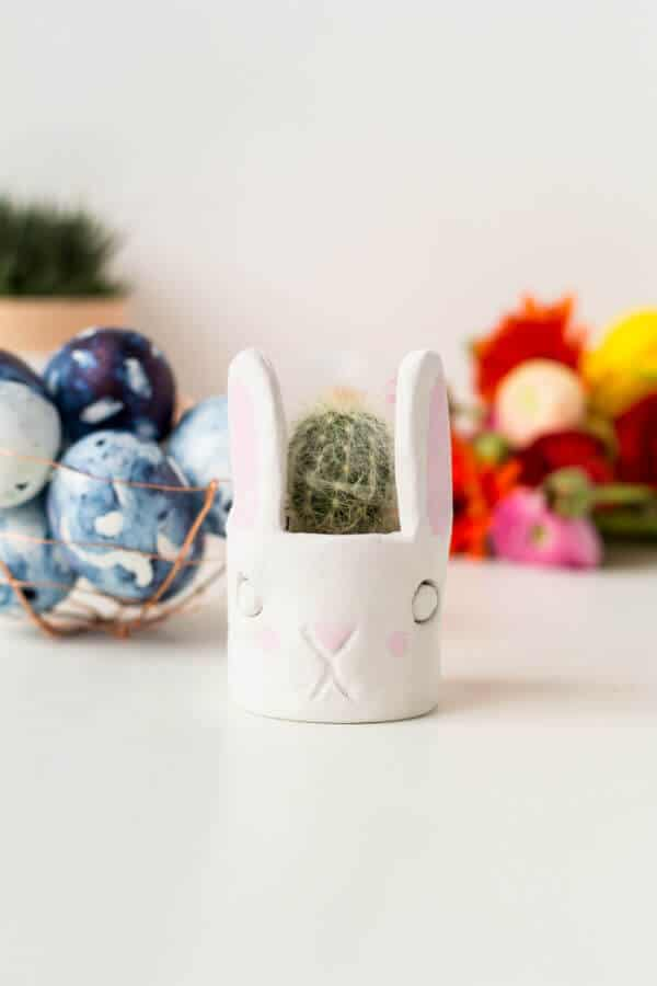 clay bunny planter