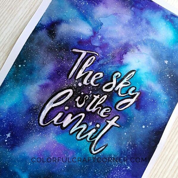 Galaxy watercolor painting with quote