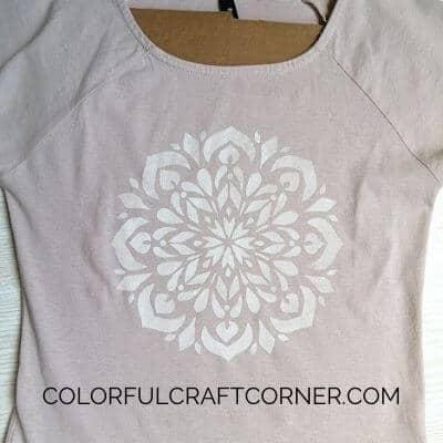 DIY stenciled mandala T-shirt