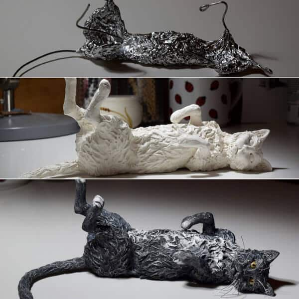 air dry clay cat with armature