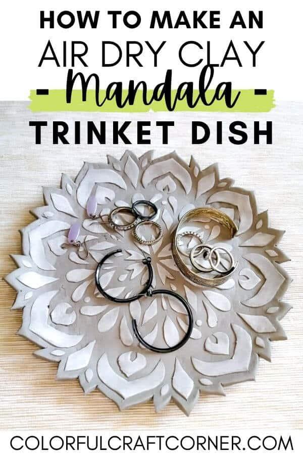 how to make an air dry clay mandala trinket dish