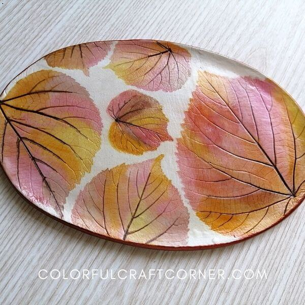 Clay Plate with Fall Leaves