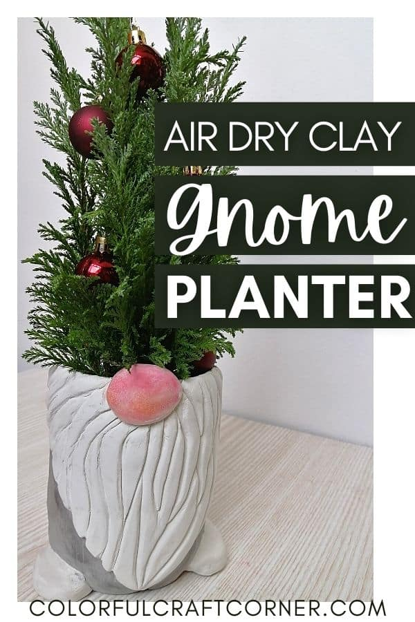 air dry clay gnome flower pot