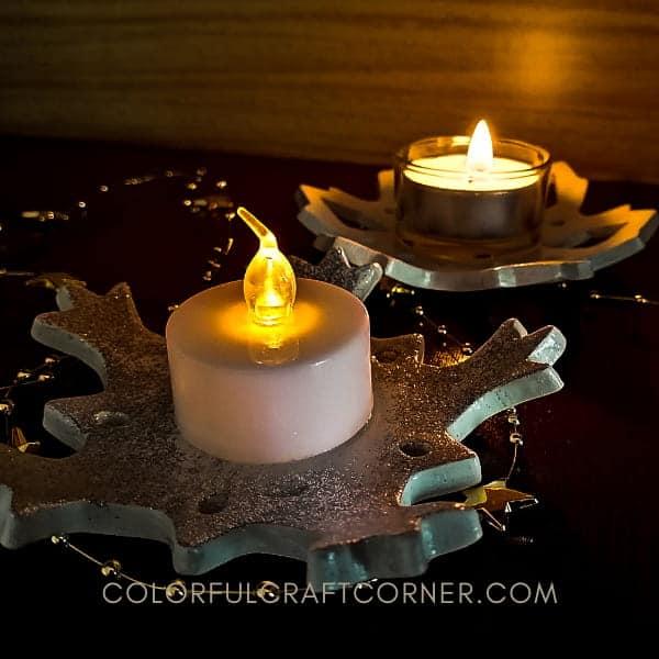 clay snowflake tea light holders