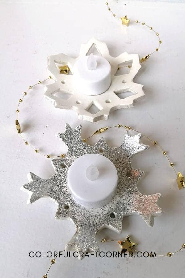 DIY snowflake candle holders