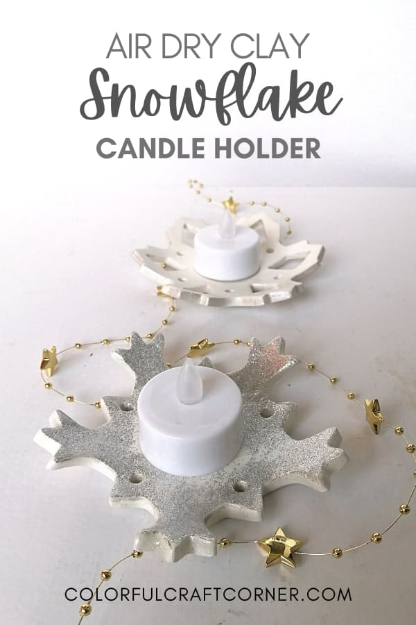 air dry clay snowflake candle holders